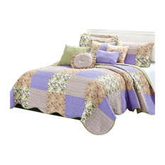 Patchwork Quilted 8-Piece Bed Spread Coverlet Set, Pink, King