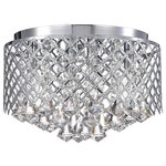 Edvivi Lighting - 4-Light Chrome Lattice Crystal Flush Mount Chandelier - This glimmery flushmount light fixture makes a bold statement with its chrome lattice drum.  Streams of diamond teardrop crystals peek out underneath the four bulbs and cast a glimmery explosion of light across the room.  The chrome and crystals combine to make a scintillating statement.