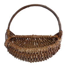 """Country Handwoven Rope Basket, Stained Brown , 15"""""""