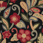 Green, Red, Orange and Black, Floral Contemporary Upholstery Fabric By The Yard - This contemporary upholstery jacquard fabric is great for all indoor uses. This material is uniquely designed and durable. If you want your furniture to be vibrant, this is the perfect fabric!