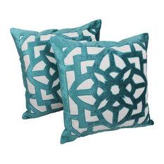 """20"""" Velvet Elegance Applique Throw Pillow, Set of 2, Aqua Blue Velvet/ Ivory"""