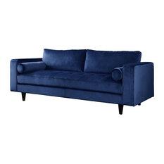 Sofa, Navy Velvet, Memory Foam, Pine Wood, Plywood