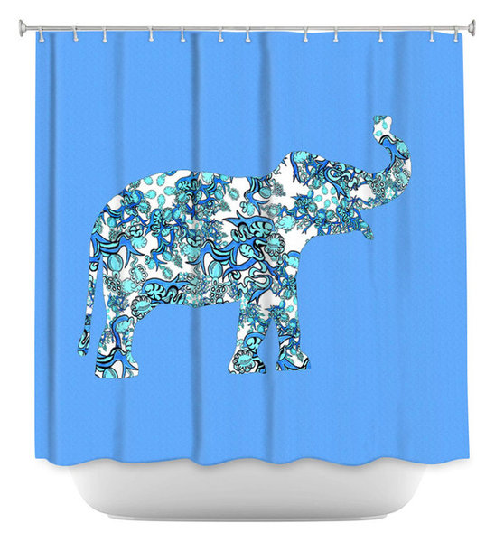 DiaNoche Designs Shower Curtain By Susie Kunzelman Elephant II Ribbons Blue