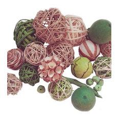 18-Piece Decorative Spheres, Lime Green, Rattan Vase Filler Assorted