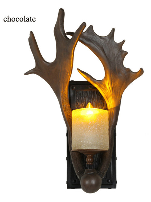 Faux Antler Single Light Candle Glass Antique Wall Light Chocolate - Wall Sconces  sc 1 st  Houzz & Wall Sconces/Wall Lights azcodes.com