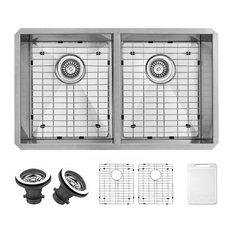 """VIGO 32"""" Suffolk Stainless Steel Double Bowl Undermount Kitchen Sink, With Sink,"""