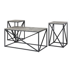 Walker Edison Modern 3-Piece Engineered Wood Geometric Table Set - Dark Concrete