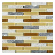 """11.75""""x11.75"""" Kitt Mixed Mosaic Tile Sheet, Gold"""