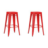 Industrial Metal Bar Stool, Set of 2, Red