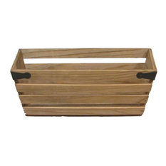 "Natural Wood Double 6"" Crate Style Planter With Metal Corner Design"