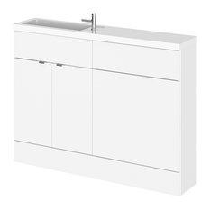 Laurena Combinations Compact Bathroom Vanity Unit, White Gloss, 120 cm