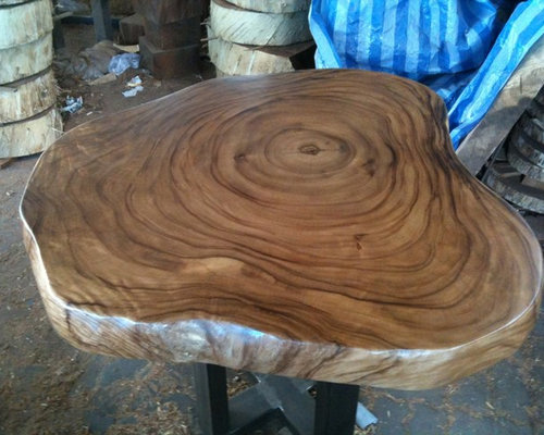 Reclaimed Acacia Wood Round Solid Slab Coffee Table By Flowbkk Tables