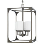 Capital Lighting Fixture Company - Flynn 4-Light Foyer Fixture, Gunmetal - The easiest way to give your home the update it needs is by installing a new light fixture or two! The Flynn 4-Light Foyer Fixture is the perfect choice for updating your decor and brightening your living spaces. Crafted of metal and glass, this fixture is an elegant touch for your traditional decor.
