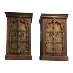 Mogul Interior - Consigned Antique Mehrab Doors Carved Side Chest, Nightstands, End Table - Side Tables and End Tables