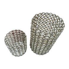 Modern Silver Glass Crystals Cylinder Candle Holder Pillar, 2 Piece Set