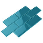 Giorbello - Glass Subway Tile, Dark Teal, Sample Swatch - Sample Tile