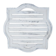 Farmhouse Louvre Wall Shutter Window, White and Black