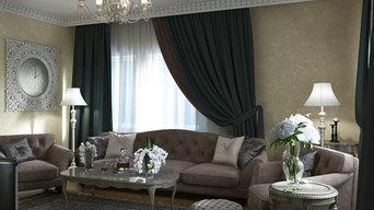 Гостиная и Санузел в Классическом стиле
