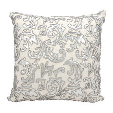 Mina Victory Luminecence Metallic Leaves Silver Throw Pillow