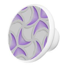 Purple Lavender Abstract Pattern Ceramic Cabinet Drawer Knob