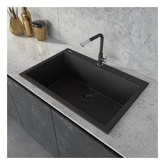 30-inch inch Dual-Mount Granite Composite Sink - Midnight Black - RVG1030BK