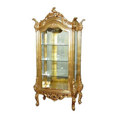 Unknown   Vintage Real Gold Leaf Curio Vitrine Open Cabinet   China Cabinets  And Hutches