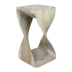 Haussmann® Original Wood Twist Stool 10 X 10 X 18 In High Grey Oil