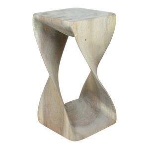 Haussmann® Original Wood Twist Stool 10 X 10 X 18 In High Grey Oil
