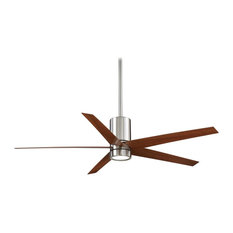 Minka Aire Symbio 56 in. LED Indoor Nickel Ceiling Fan with Walnut Blades
