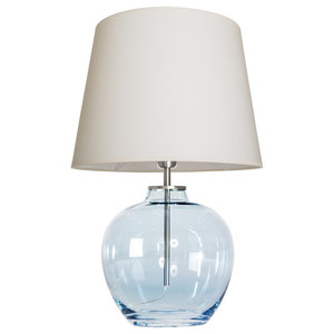 Timor Blue Table Lamp With Cream Shade
