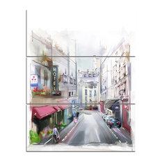 """City Street Illustration"" Canvas Art Print, 3 Panels, 28""x36"""