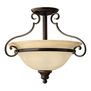 Cello Antique Bronze 2-Light Semi-Flush Ceiling Light