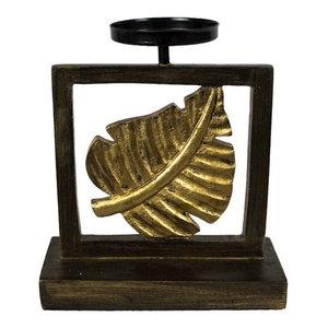 """Sagebrook Home Framed Gold Leaf Candle Holder, 8"""" Tealight"""