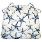 Barnett Home Decor - Sea Shore Starfish Navy Blue Indoor/Outdoor Dining Chair Pads & Patio Cushions - Sea Shore Starfish dining chair pads feature a sophisticated Navy Blue on white star fish print that's perfect for a serene coastal getaway or a grown-up beach cottage decor.