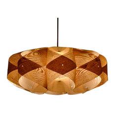 Wood Orbit 2-Light Pendant Light, Chinese Ash Veneer, Type A