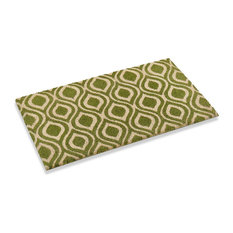"""Ogee Design Natural Coco mat with vinyl Backing , Color Green Kale, 18"""" X 30"""""""