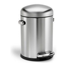Simplehuman Retro Step Trash Can Brushed Steel Wastebaskets
