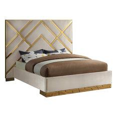Vector Bed, Cream, Queen, Velvet Upholstered