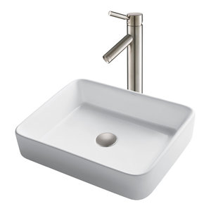 Dawn CASN110034 Contemporary Vessel Above-Counter Rectangle Ceramic Art Basin with Single Hole For Faucet /& Overflow White