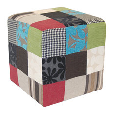 Plush Patchwork Cube Stool/Pouffe, Blue/Green/Red
