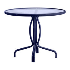 "Tamiami 36"" Round Bistro Dining Table, Glass Top (no umbrella hole), Marine"