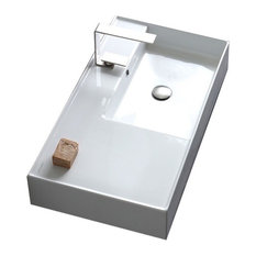 """32"""" Ceramic Wall Mount or Vessel Sink With Counter Space, 1-Hole"""