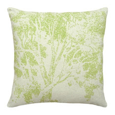 Tree Hand-Printed Linen Pillow, Chartreuse