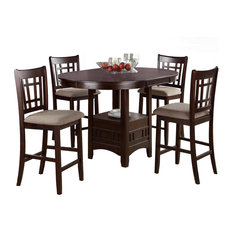 Rosy Brown 5 Piece Counter Height Dining Set Round Table, Leaf Cushion  Chair