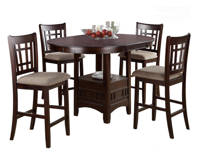 Rosy Brown 5-Piece Counter Height Dining Set Round Table, Leaf ...