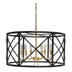 Worlds Away, Zia Bamboo Chandelier, Black With Gold Cluster