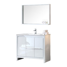 "Allier 40"" White Modern Bathroom Vanity, Mirror, Brushed Nickel Faucet"