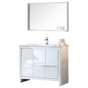 "Allier 40"" White Modern Bathroom Vanity, Mirror, Fortore Chrome Faucet"