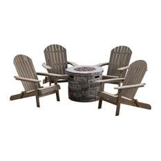 GDF Studio 5-Piece David Outdoor Adirondack Chair Set With Fire Pit, Gray