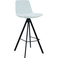 Sandy Bar Height Barstool - Black, White, Artificial Leather